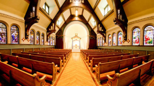 Colorado Heights University Chapel was a Catholic Churh for 125 years and is now rented out to people of all faiths.