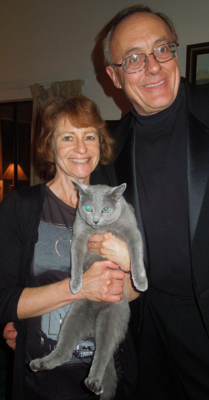 Revs. Chris and Karen Mohr with their cat Pamina