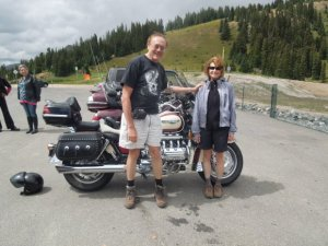 Getting ready for a motocycle wedding at 11,000 feet